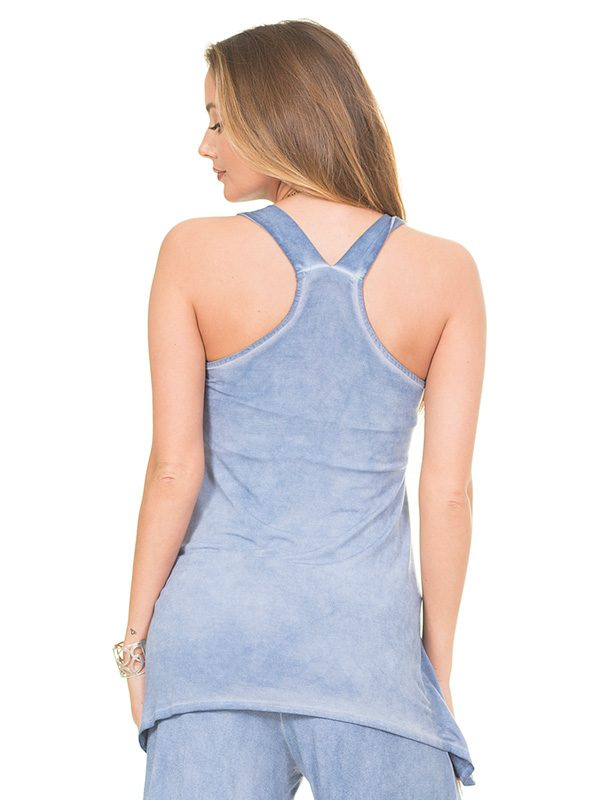 106 Devotion Oil Wash High-Low Tank Top back view - L.L. Couture Language of Love